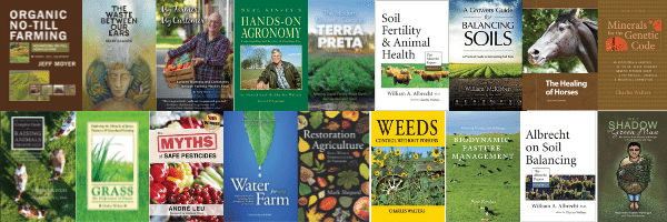 Acres USA bookstore book covers collection