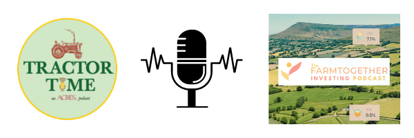 Tractor Time podcast and Farmland Investing Podcast graphic.